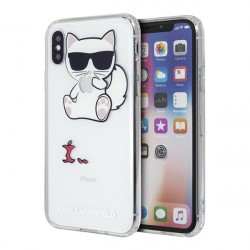 Чехол Karl Lagerfeld Fun Choupette Eaten Apple для iPhone X/XS, прозрачный