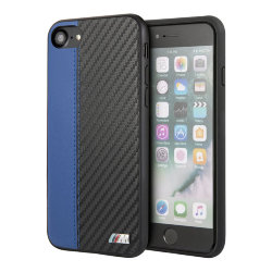 Чехол BMW Smooth Carbon effect PU Hard для iPhone 7/8/SE 2020, синий