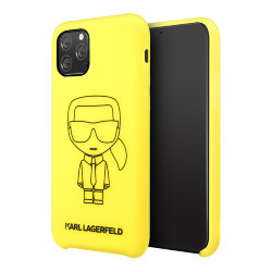 Чехол Karl Lagerfeld Liquid silicone Ikonik outlines Hard для iPhone 11 Pro Max, желтый/черный