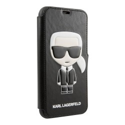Чехол Karl Lagerfeld PU Leather Iconic Karl Booktype Stand для iPhone 11 Pro Max, черный