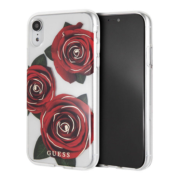 Чехол Guess Flower desire Transparent Hard для iPhone XR, Red Roses