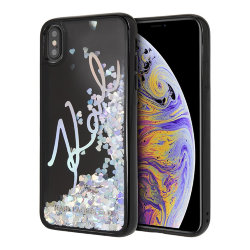 Чехол Karl Lagerfeld Liquid Glitter Karl signature Hard Sequins Iridiscent для iPhone XS Max, черный