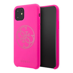 Чехол Guess Silicone collection 4G logo для iPhone 11, фуксия