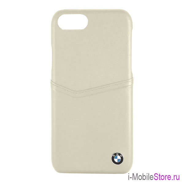 Кожаный чехол BMW Signature Card slot Hard Leather для iPhone 7/8/SE 2020, Taupe