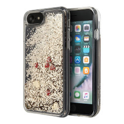 Чехол Guess Liquid Glitter Floating Hearts Hard для iPhone 7/8/SE 2020, золотой