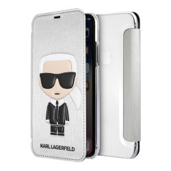 Чехол Karl Lagerfeld Iconic Karl Booktype для iPhone XR, серебристый