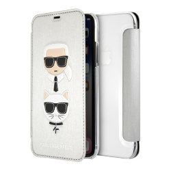Чехол Karl Lagerfeld Karl and Choupette Booktype для iPhone XR, серебристый