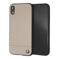 Кожаный чехол BMW Signature Logo imprint Hard для iPhone XR, Taupe
