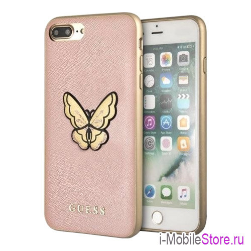 Чехол Guess Patch Butterfly Saffiano Hard для iPhone 7 Plus/8 Plus, розовый