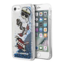 Чехол Karl Lagerfeld Liquid glitter Captain Karl для iPhone 7/8/SE 2020, синий