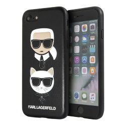 Чехол Karl Lagerfeld Embossed Karl and Choupette Hard PU для iPhone 7/8/SE 2020, черный