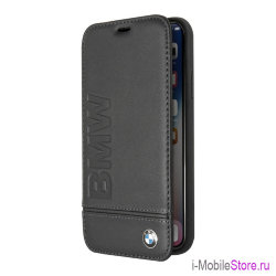 Кожаный чехол BMW Signature Logo imprint Booktype для iPhone X/XS, черный