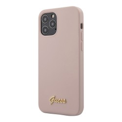 Чехол Guess Liquid Silicone Gold Metal logo для iPhone 12 Pro Max, розовый
