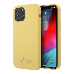 Чехол Guess Liquid Silicone Gold Metal logo для iPhone 12 Pro Max, желтый