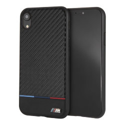 Чехол BMW M Collection Carbon Inspiration Hard Tricolor для iPhone XR, черный