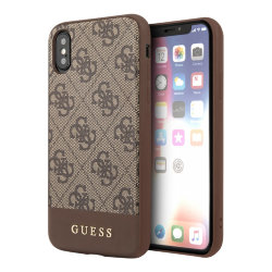 Чехол Guess 4G Stripe Metal logo Hard для iPhone X/XS, коричневый