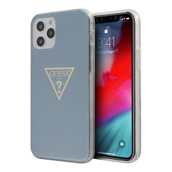 Чехол Guess Metallic effect Triangle logo Hard для iPhone 12 Pro Max, голубой