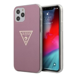 Чехол Guess Metallic effect Triangle logo Hard для iPhone 12 Pro Max, розовый