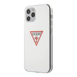 Чехол Guess Shiny Triangle logo Hard для iPhone 12 Pro Max, белый
