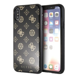 Чехол Guess Double layer 4G Peony Hard Glitter для iPhone X/XS, черный