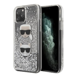 Чехол Karl Lagerfeld Liquid glitter Karl and Choupette heads Hard для iPhone 11 Pro Max, серебристый