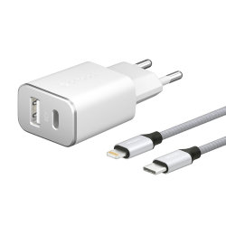 Сетевая зарядка Deppa USB Type-C + USB-A, PD 18W/QC 3.0, с кабелем USB-C/Lightning, MFI