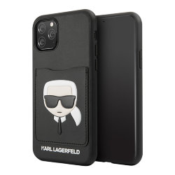 Чехол Karl Lagerfeld PU Leather Karl's Head Hard with cardslot для iPhone 11 Pro Max, черный