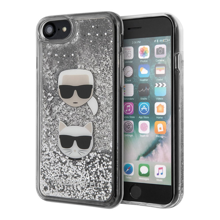 Чехол Karl Lagerfeld Liquid glitter Karl and Choupette heads Hard для iPhone 7/8/SE 2020, серебристый