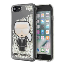 Чехол Karl Lagerfeld Liquid Glitter Iconic glow in dark для iPhone 7/8/SE 2020, прозрачный