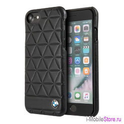 Кожаный чехол BMW Signature Embossed Hexagon Hard для iPhone 7/8/SE 2020, черный