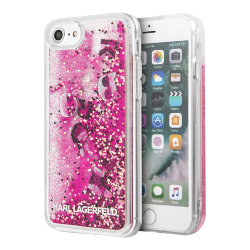 Чехол Karl Lagerfeld Liquid Glitter Floatting Charms для iPhone 7/8/SE 2020, розовый