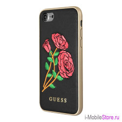 Чехол Guess Flower desire Hard Embroidered roses для iPhone 7/8/SE 2020, черный