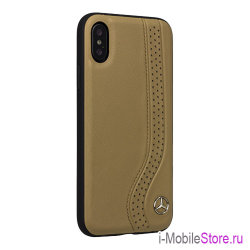 Кожаный чехол Mercedes New Bow Hard для iPhone X/XS, Camel