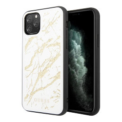 Чехол Guess Double Layer Marble Tempered glass для iPhone 11 Pro, белый