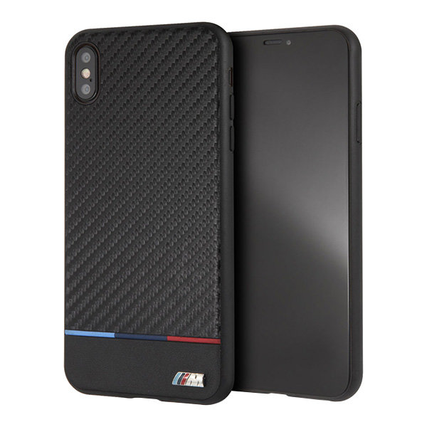 Чехол BMW M Collection Carbon Inspiration Hard Tricolor для iPhone XS Max, черный
