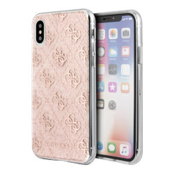 Чехол Guess 4G collection Hard Glitter для iPhone XS Max, розовый