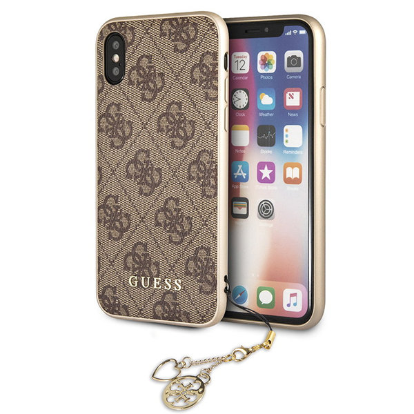 Чехол Guess 4G Charms Hard для iPhone XS Max, коричневый