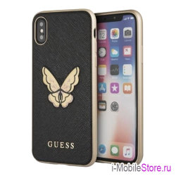 Чехол Guess Patch Butterfly Saffiano Hard для iPhone X/XS, черный