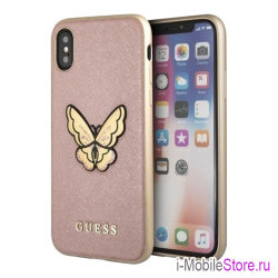 Чехол Guess Patch Butterfly Saffiano Hard для iPhone X/XS, розовый