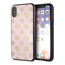 Чехол Guess Double layer 4G Peony Hard Glitter для iPhone XS Max, розовый