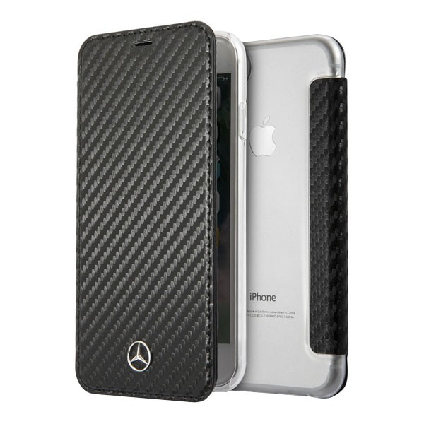 Чехол Mercedes Dynamic Booktype Carbon для iPhone 7/8/SE 2020, черный