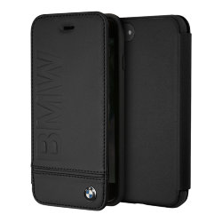 Кожаный чехол BMW Signature Logo imprint Booktype для iPhone 7/8/SE 2020, черный