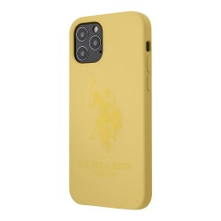 Чехол U.S. Polo Assn. Liquid Silicone Double horse Hard для iPhone 12 Pro Max, желтый