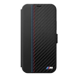 Чехол BMW Smooth Carbon effect PU Booktype для iPhone 12 | 12 Pro, черный