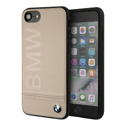 Кожаный чехол BMW Logo imprint Hard для iPhone 7/8/SE 2020, Taupe